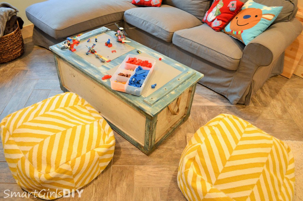 DIY coffee table top with reversible lego tray