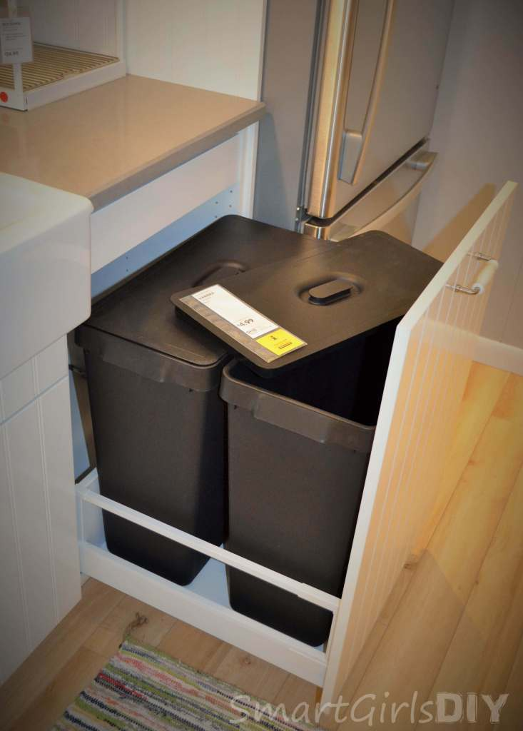 American sized garbage cans pullout of IKEA SEKTION base cabinet