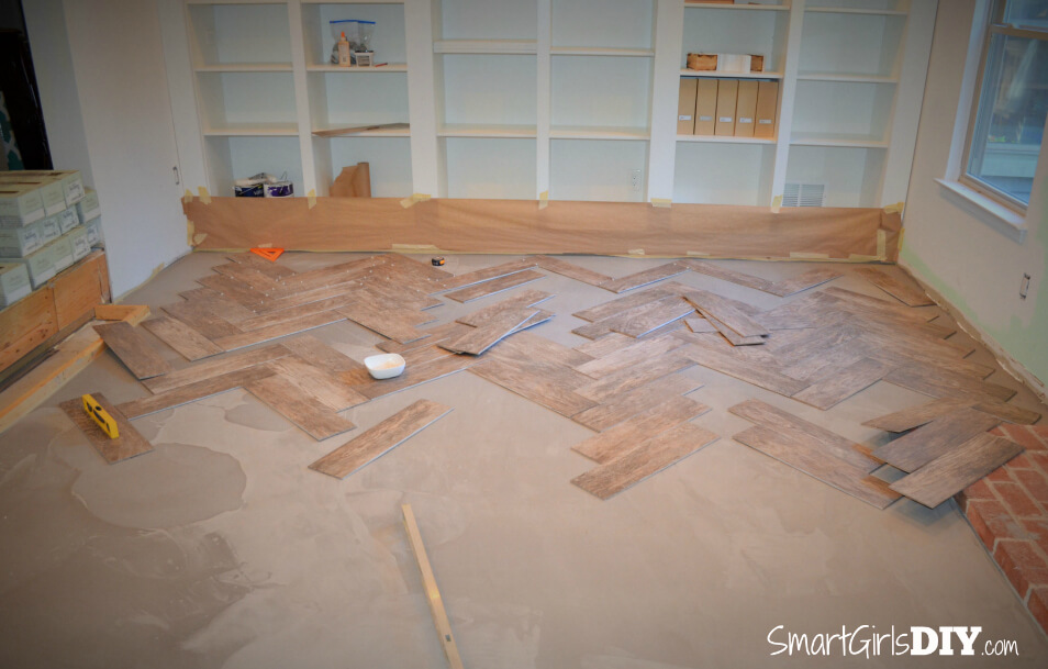 How To Tile A Herringbone Floor Family Room 10