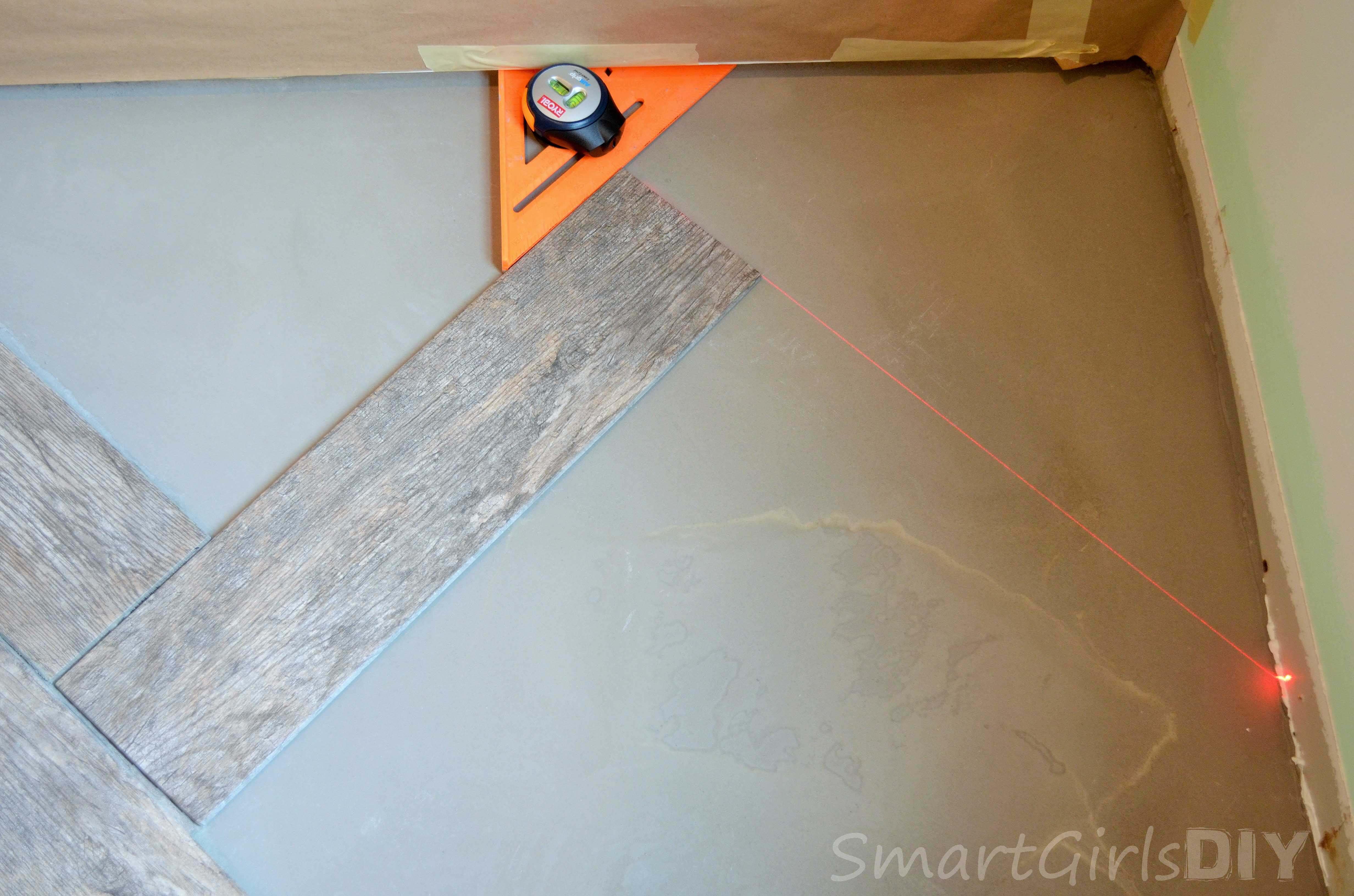 Diy Tile Floor step 1 Marking Out Herringbone Pattern In Corner Is The Trickiest