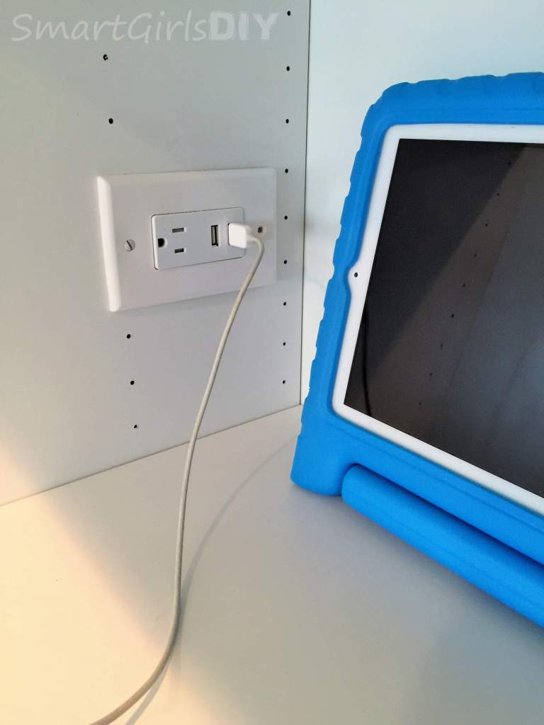 USB outlet installed in bookshelf