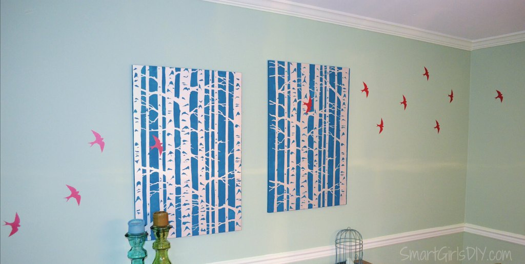 Birch Tree Wall Art with Cutting Edge Stencils