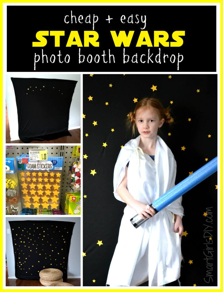 Cheap and easy DIY Star Wars photo booth backdrop by SmartGirlsDIY