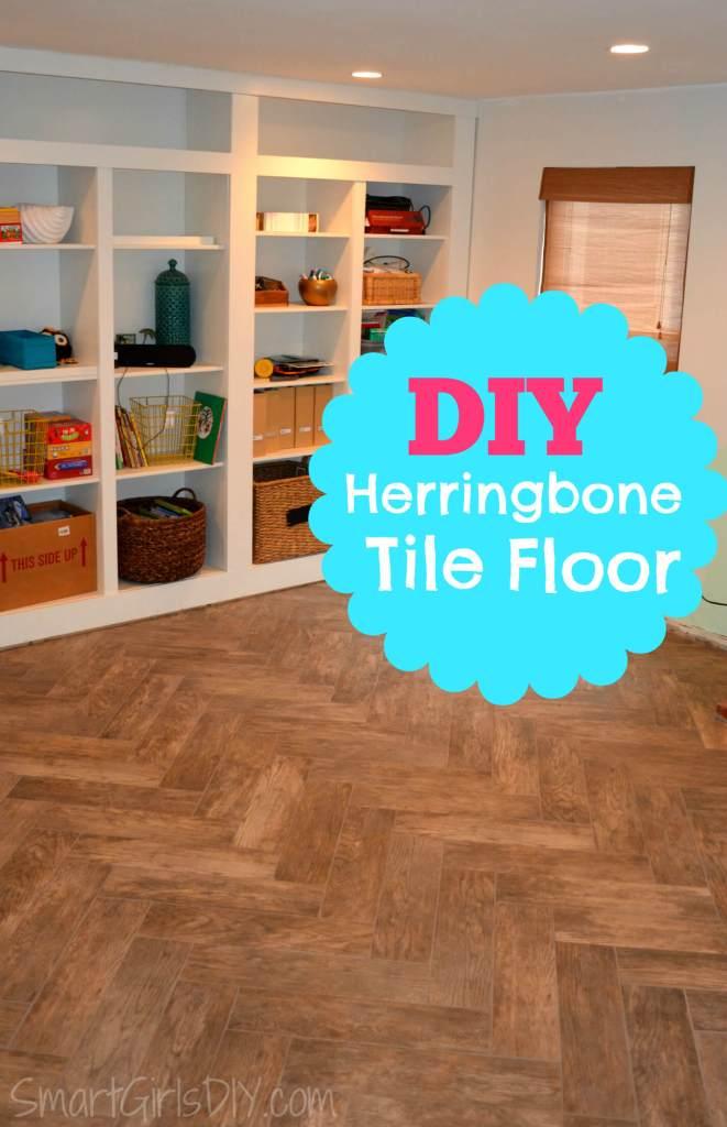 DIY Herringbone Tile Floor