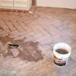 Grouting a Herringbone Tile Floor (Family Room 11)