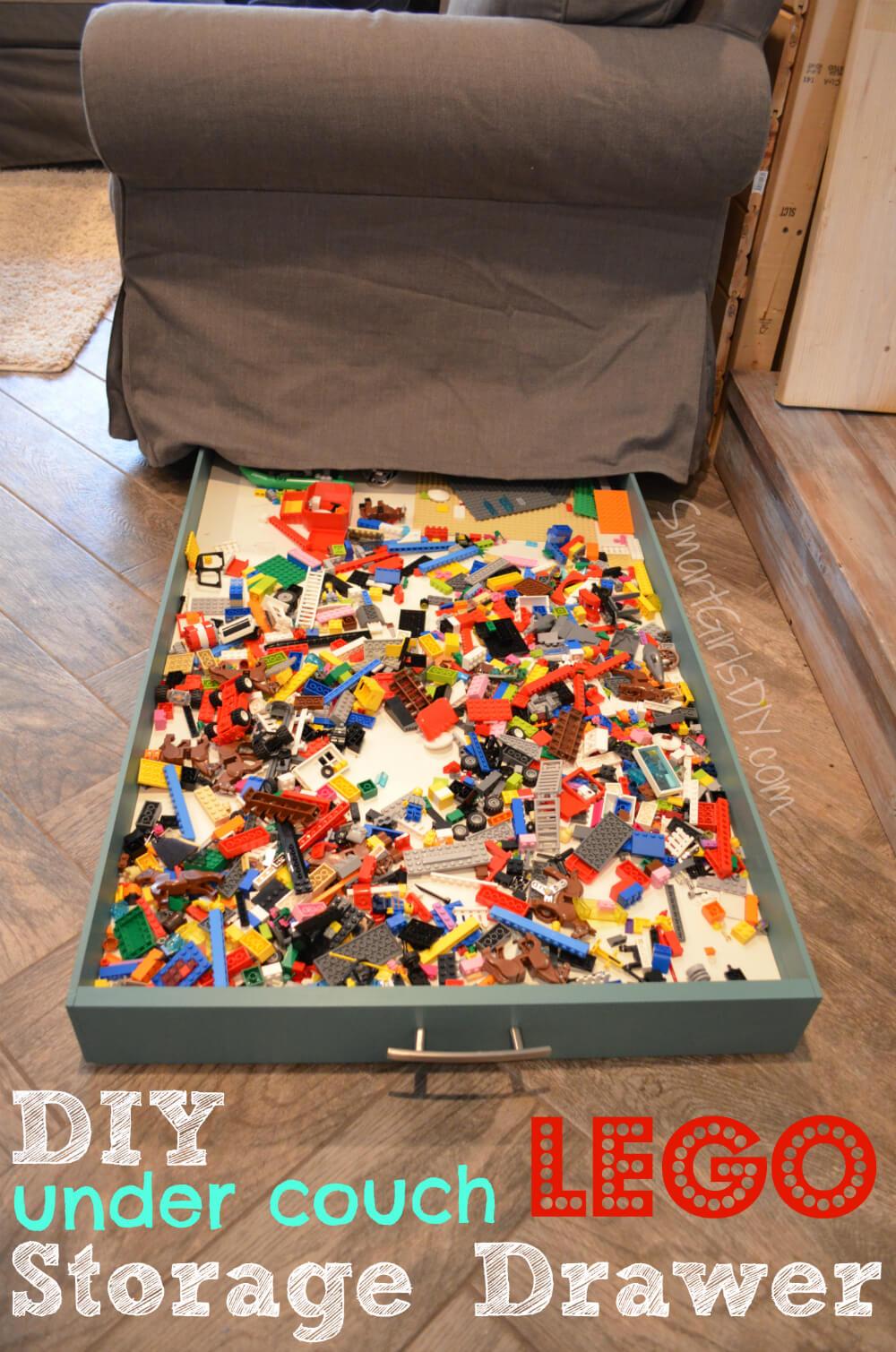 DIY under couch Lego storage drawer by SmartGirlsDIY