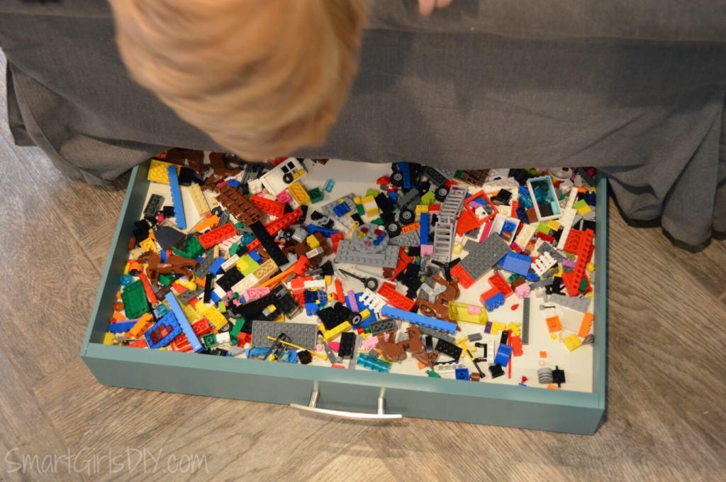 DIY under couch Lego storage drawer - no wheels needed