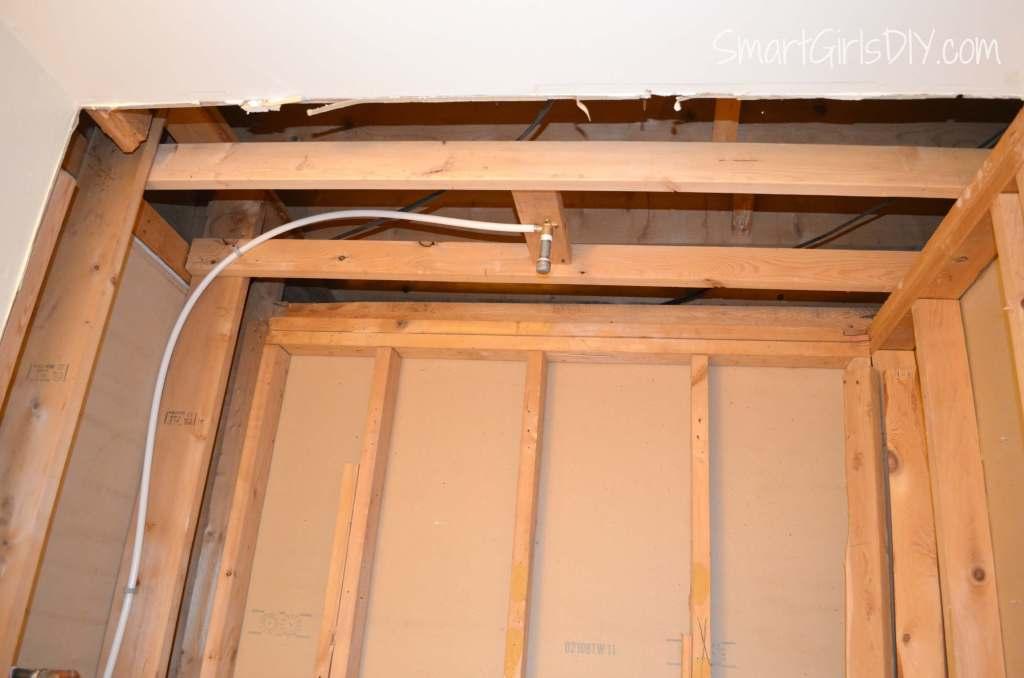 Plumbing installed for overhead rainshower