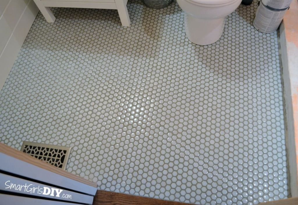 Hexagon mosaic floor tile from The Tile Shop (Hex gloss moss)