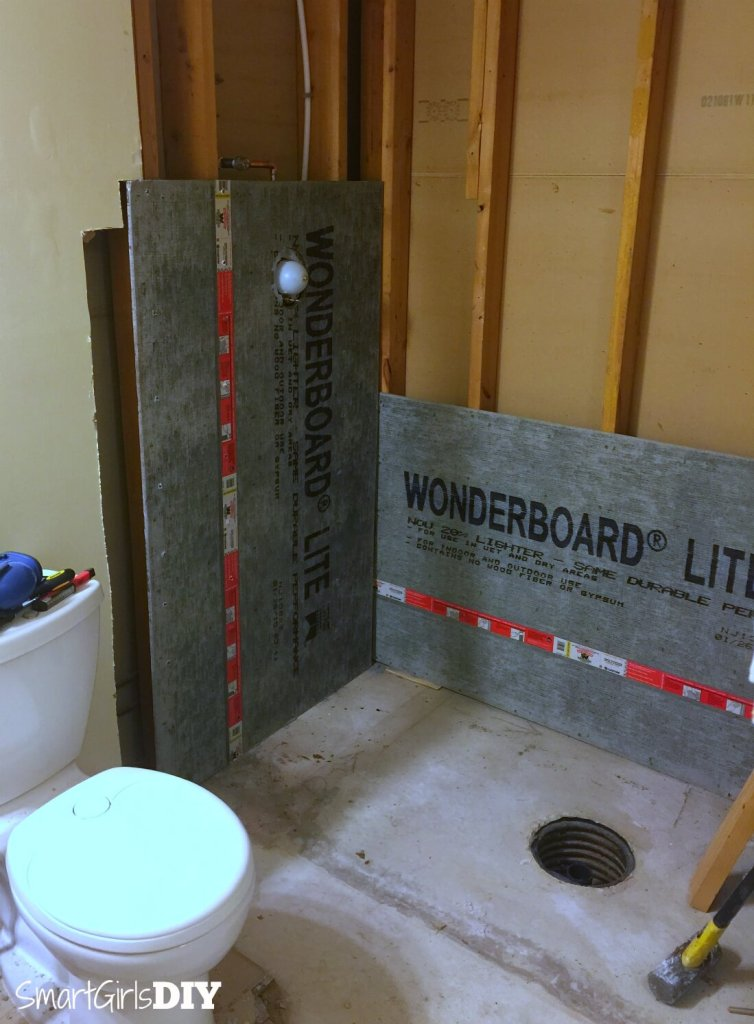 DIY Custom Shower - building walls with cement board