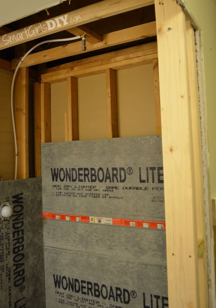 Shower walls with Wonderboard