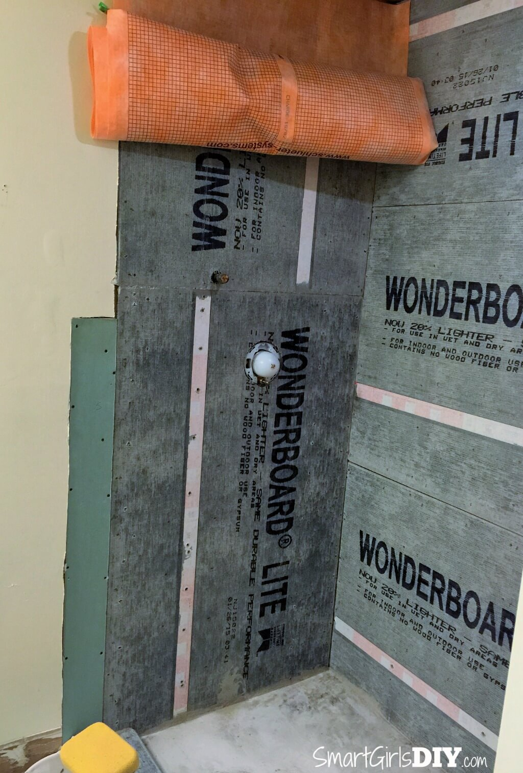 schluter kerdi cut to size and ready to install on a shower wall
