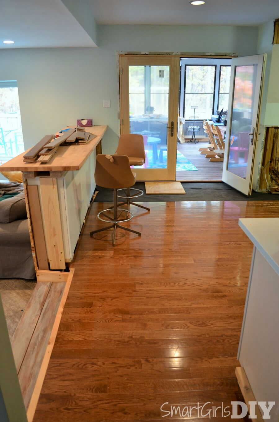 Hardwood floor install in kitchen not finished before party