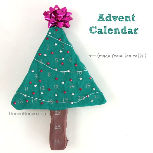 Advent Calendar made from loo rolls
