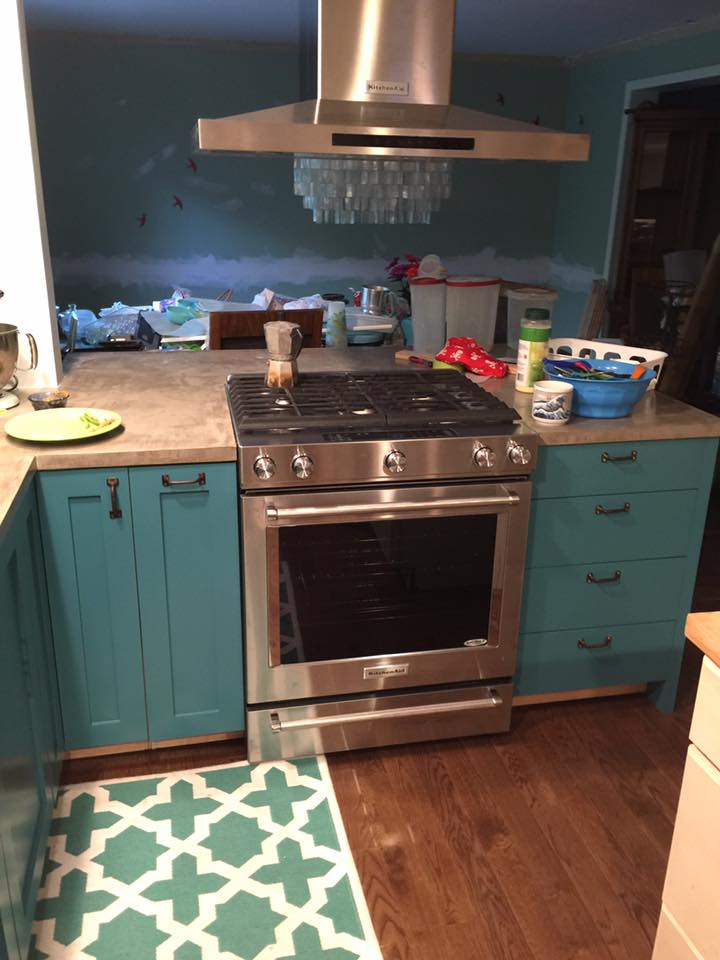 Smart Girls DIY Teal Kitchen Cabinets
