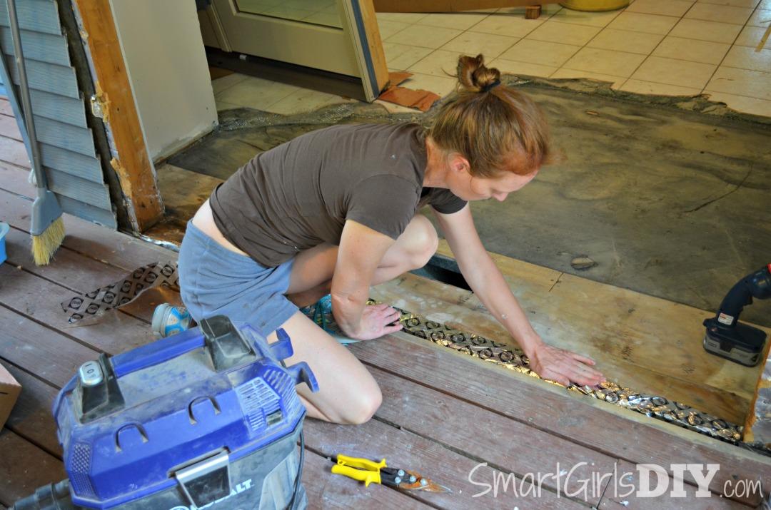 DIY Patio Door Install   First Apply The Pella Tape To The Door Frame