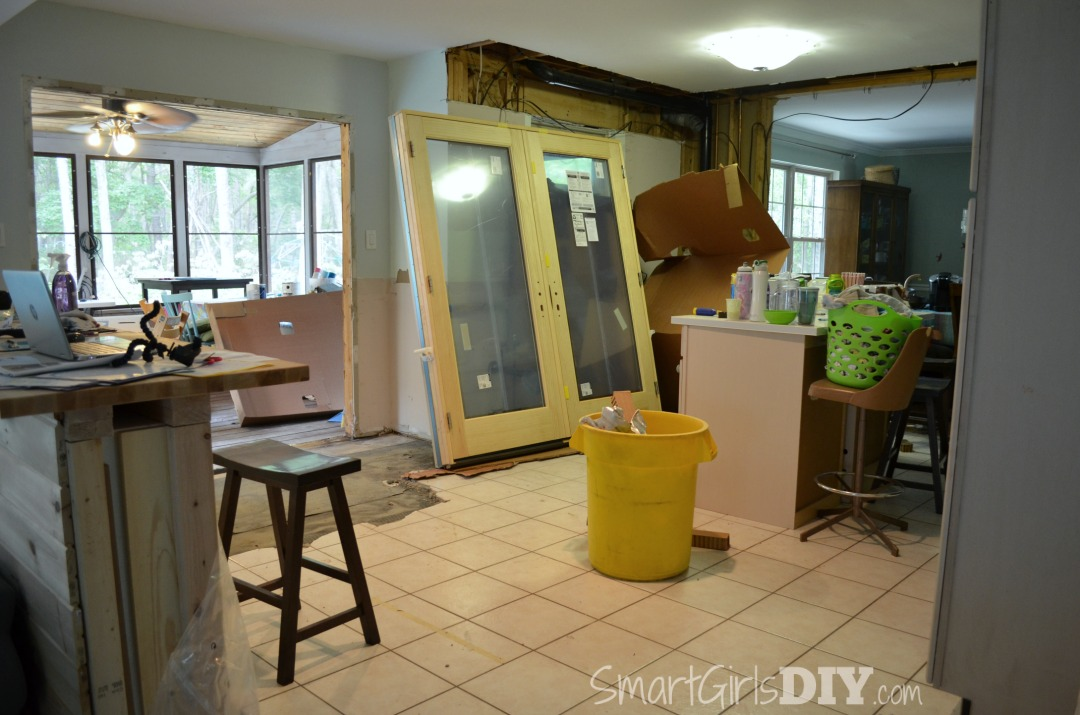 Smart Girls DIY Kitchen Renovation - installing french patio doors