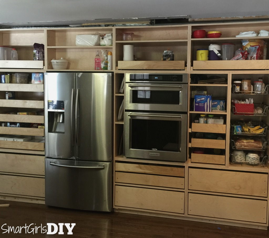 Barker Cabinets without doors but with lots of pullout shelves