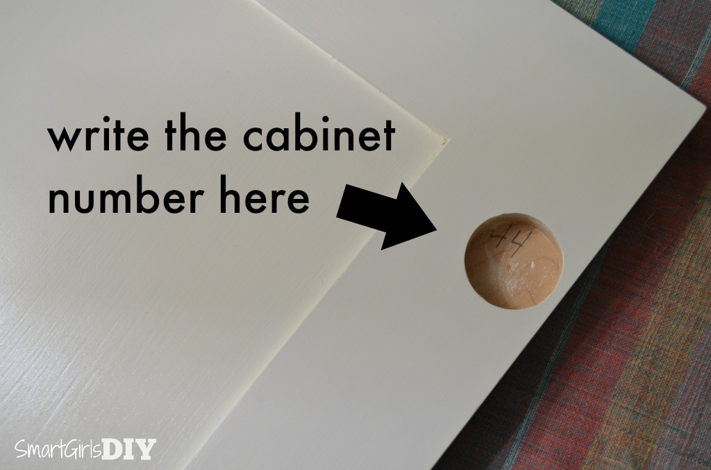 Write the cabinet number inside the cabinet door