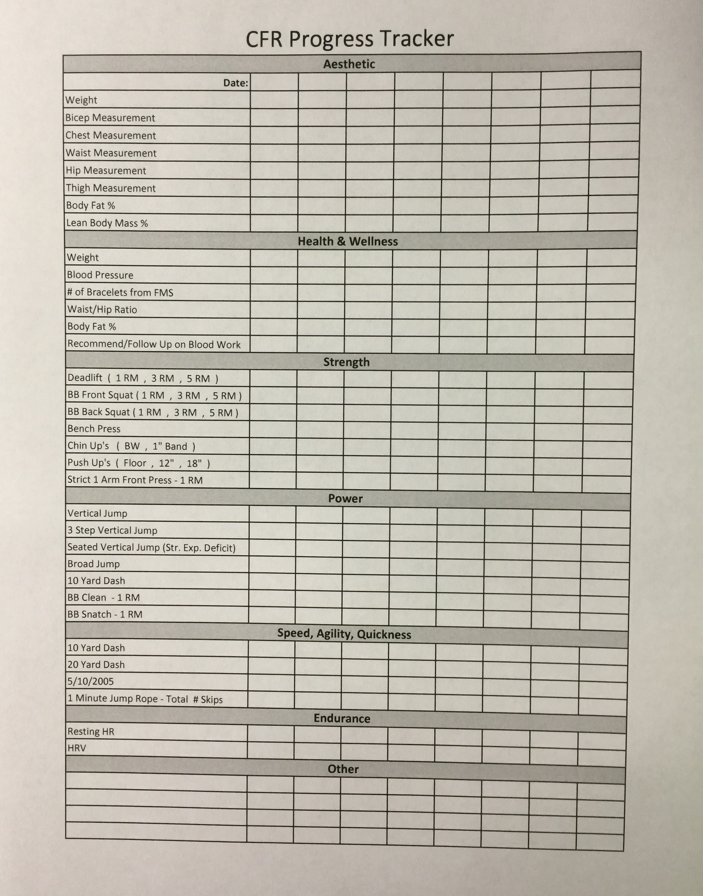 Personal Training Client Workout Sheet
