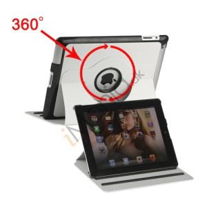 360 graders roterende Kunstlæder Stand Smart Cover til Den Nye iPad 2 3 4 - Hvid