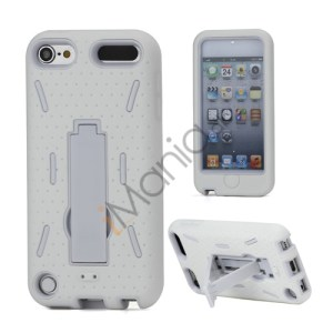 Rugged Robot Style Plastic and Silikone Combo Taske med Holder til iPod Touch 5 - Hvid