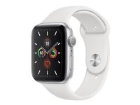 Apple Watch Series 5 (GPS) - 44 mm - sølvaluminium - smart ur med sportsbånd - fluoroelastomer - hvid - båndstørrelse: S/M/L - 32 GB - Wi-Fi, Bluetoo