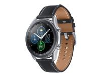 Samsung Galaxy Watch 3 - 45 mm - mystisk silver- smart watch w/ leatherband - Wi-Fi, NFC, Bluetooth (NOT Nordic Approved - No SamsungPay/e-sim)