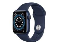 Apple Watch Series 6 (GPS + Cellular) - 40 mm - blå aluminium - smart ur med sportsbånd - fluoroelastomer - dyb marine - båndstørrelse: S/M/L - 32 GB