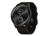 Garmin vívomove Style - 42 mm - grafitaluminium - smart ur med bånd - vævet nylon - sort peber - håndledsstørrelse: 125-190 mm - Bluetooth, ANT+ - 25