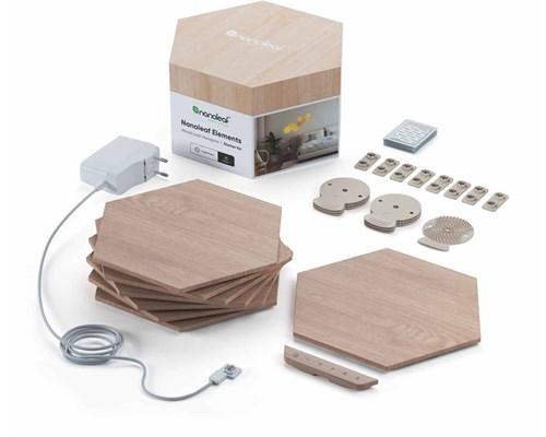 Nanoleaf Elements Wood Lock Hexagones Startsæt Med 7 Paneler