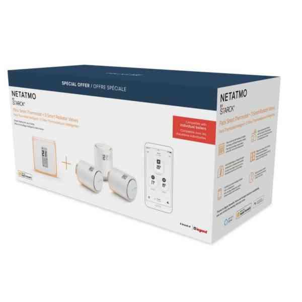 Netatmo Smart Thermostat V2 + 3-Pak ventiler - Bundle