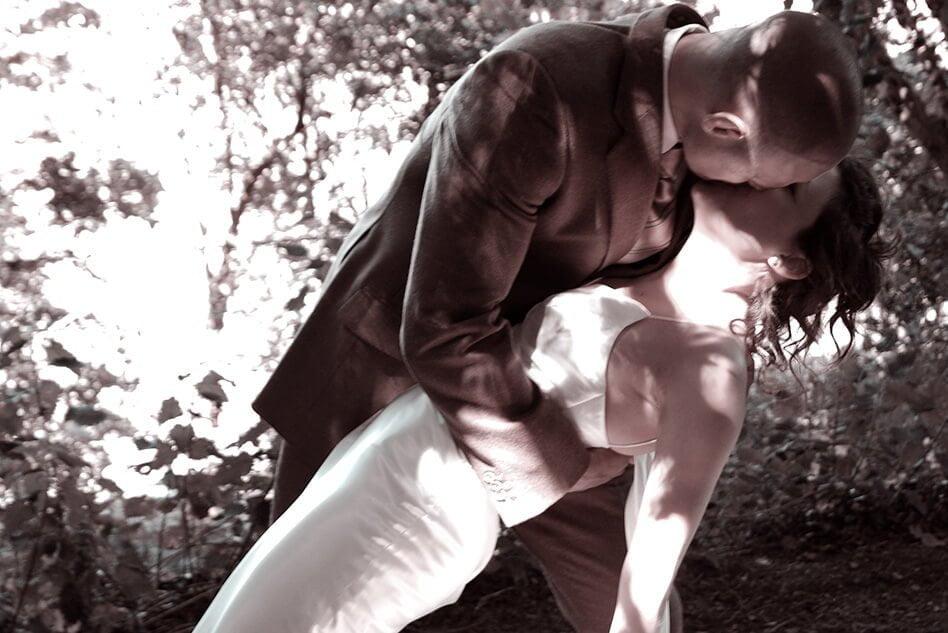Wedding Kiss under trees
