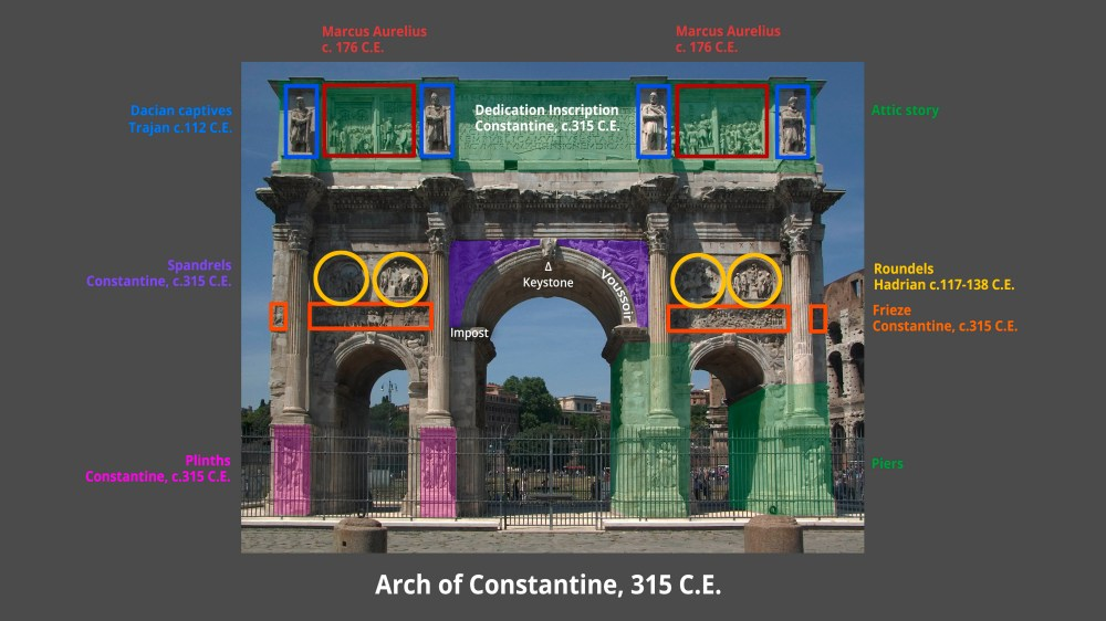 medium resolution of diagram of the arch of constantine showing architectural features and spolia 312 315 c e