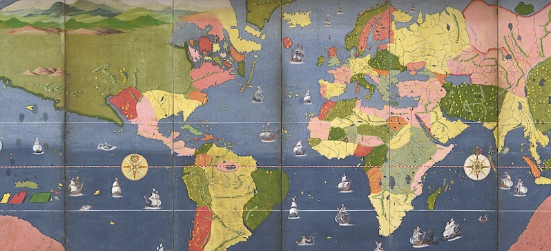 Unknown Japanese Painter, Four Large Cities in the World/Map of the World, early 17th century (Kobe City Museum)