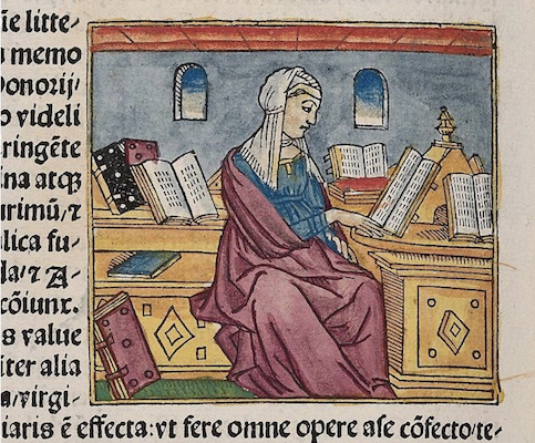 St Proba reading at a desk, 1497, woodcut, Bodleian Douce 287, p. 5 verso (The Bodleian Library, University of Oxford, Bod. Inc. Cat., J-085) (thanks to Erik Kwakkel)