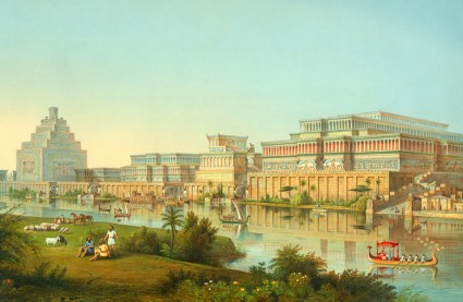 Reconstruction drawing of Nimrud, the site of an ancient Assyrian palace, by James Fergusson for Sir Henry Layard, published in 1853. The columns depicted here were never found. The reconstruction is clearly influenced by what was known at that time of Greco-Roman architecture and by John Martin's Fall of Nineveh (1829).
