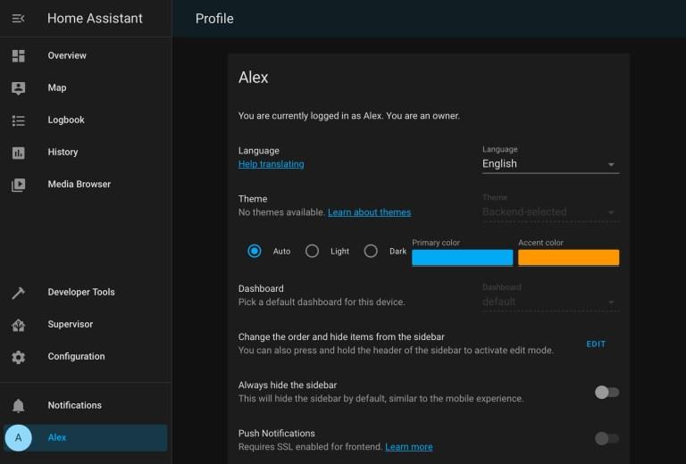 La pestaña Perfil es única para cada usuario que haya configurado.  Tiene opciones básicas, como configuraciones de idioma, así como algunas configuraciones más avanzadas.