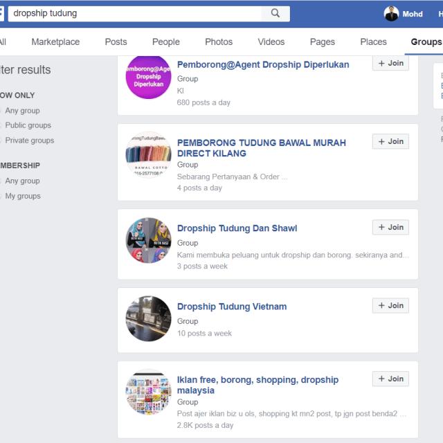 cara mencari dropship di facebook