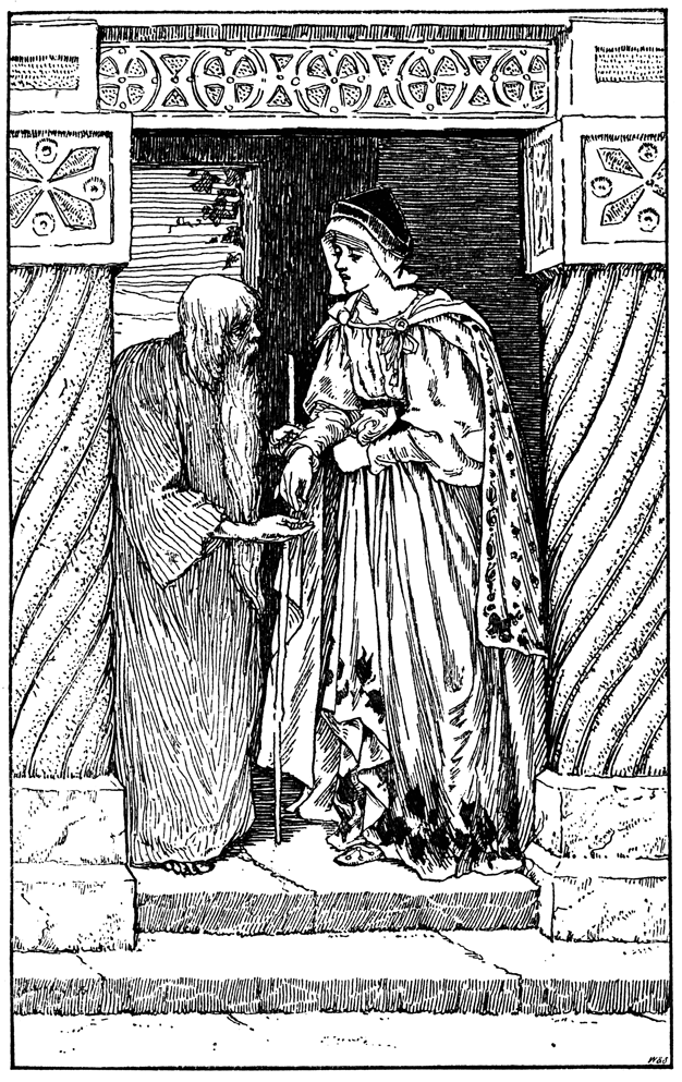 A young woman gives a stooped old man some coins.