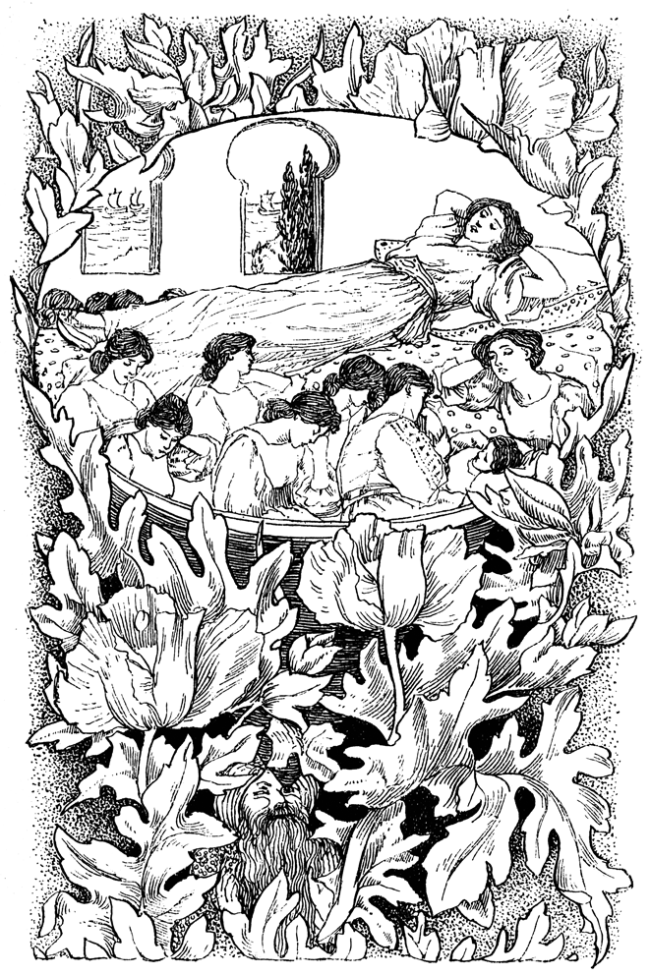 A sleeping woman on a bed is surrounded by eight seated sleeping women.