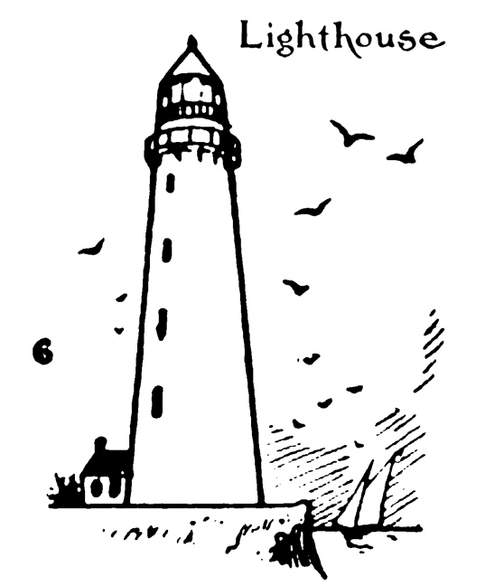 Step by step drawing for kids – How to draw Lighthouse