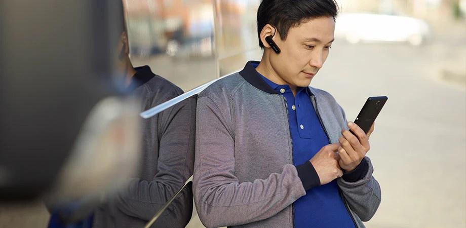 سماعة الرأس الأحادية Mono Bluetooth Headset MBH10 متوافقة مع أي هاتف أو كمبيوتر لوحي أو كمبيوتر مزود بتقنية Bluetooth