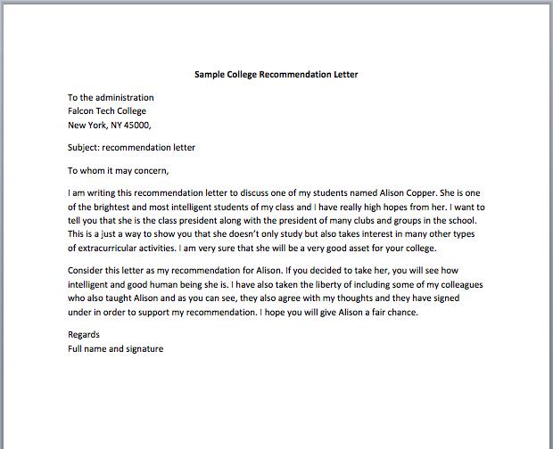 Teacher Recommendation Letter