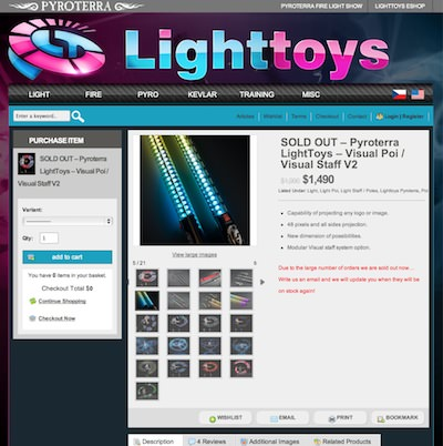 SOLD OUT  Pyroterra LightToys  Visual Poi  Visual Staff V2  E shop Pyroterra  Fire  Light toys
