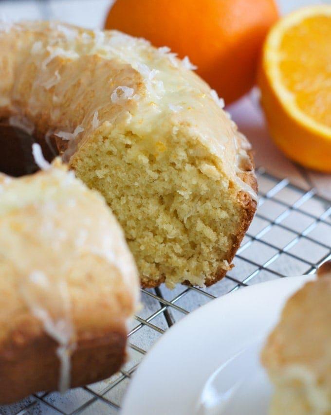 Orange Ricotta Coconut Cake | SmartLittleCookie.net