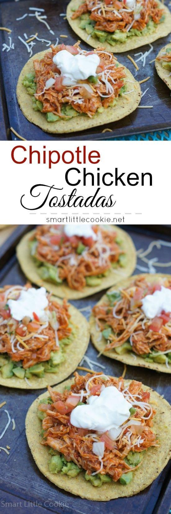 Chipotle Chicken Tostadas | smartlittlecookie.net