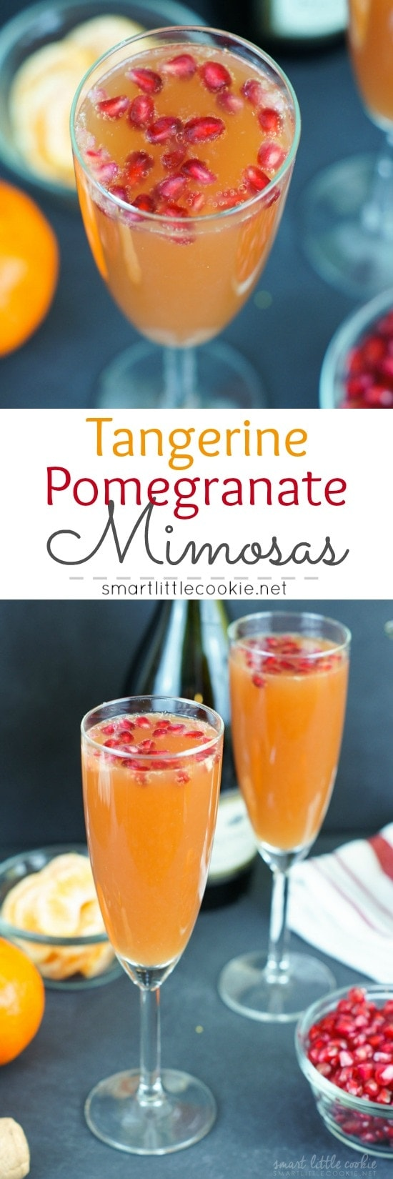 Tangerine Pomegranate Mimosa ~ A simple blend of tangerine juice, pomegranate juice and champagne makes a delicious bubbly and festive drink perfect for New Year's Eve!