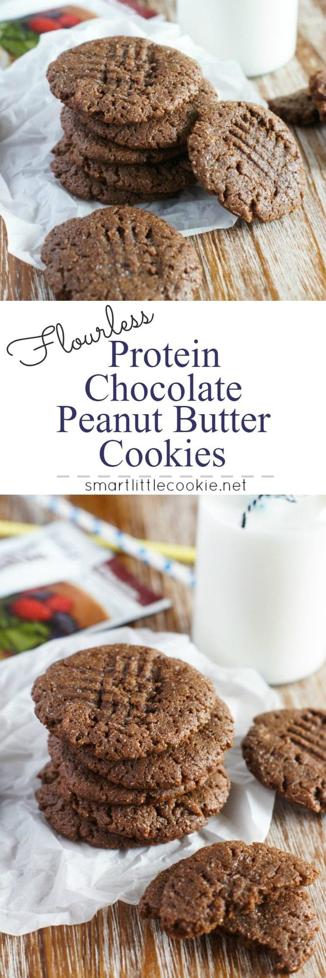 Crispy on the outside and gooey on the inside, these flourless protein chocolate peanut butter cookies are a delicious protein pack treat to enjoy after a workout. smartlittlecookie.net #cookies #peanutbutter
