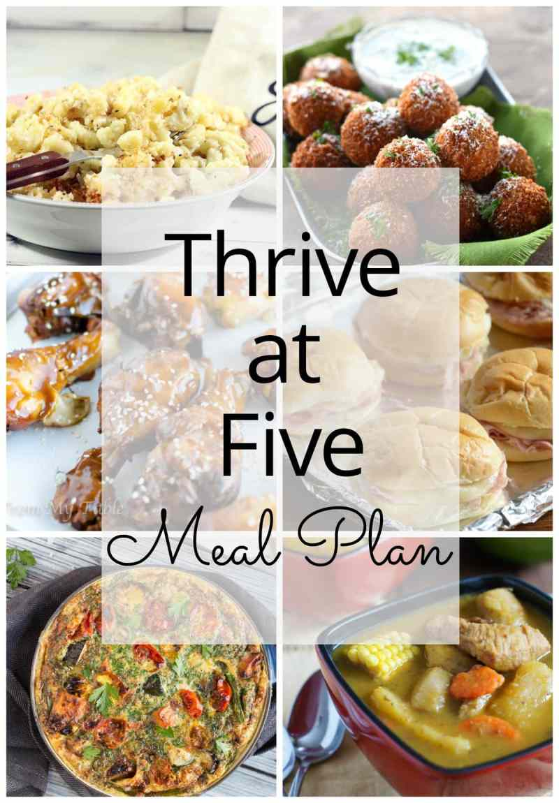 Thrive at Five Meal Plan - Week #6 ~ A weekly meal plan for busy parents. This week's plan features a super easy slow cooker sesame chicken recipe, a quick vegetarian frittata, a comforting stew and a finger licking good mac n' cheese. #mealplan